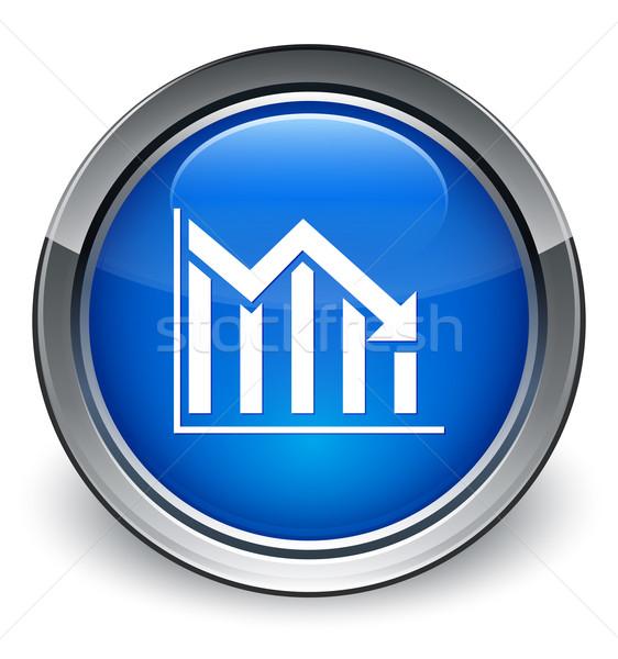 Statistics down icon glossy blue button Stock photo © faysalfarhan