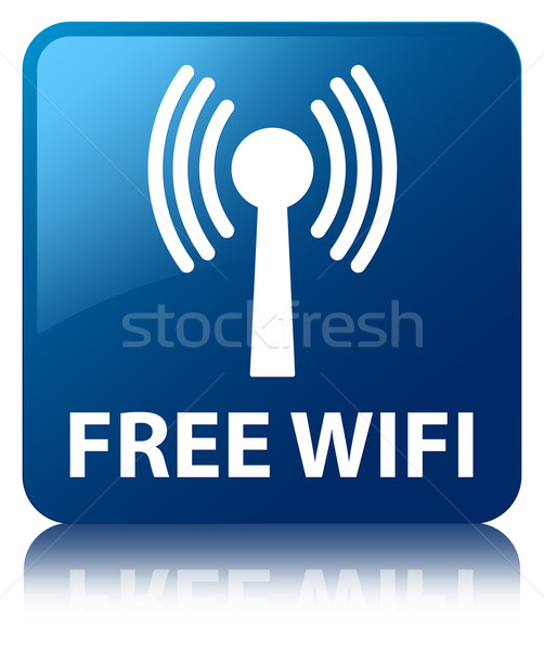 Free wifi (wlan network icon) glossy blue reflected square butto Stock photo © faysalfarhan