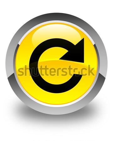 ストックフォト: 返信 · 回転させる · アイコン · 黒 · ボタン