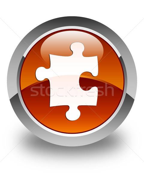 Puzzle ikon fényes barna gomb szolgáltatás Stock fotó © faysalfarhan