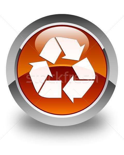 Recycle icon glossy brown round button Stock photo © faysalfarhan