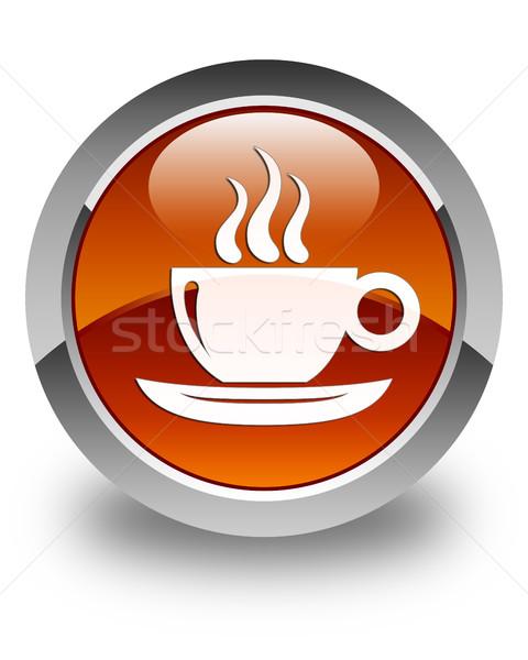 Tasse de café icône brun bouton fumée Photo stock © faysalfarhan
