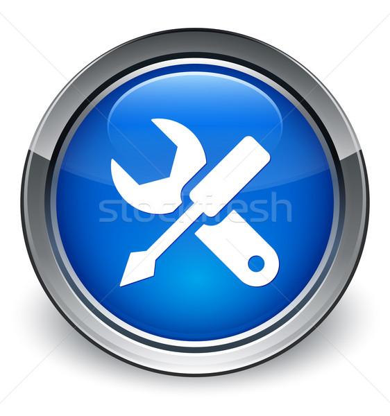 Settings icon glossy blue button Stock photo © faysalfarhan