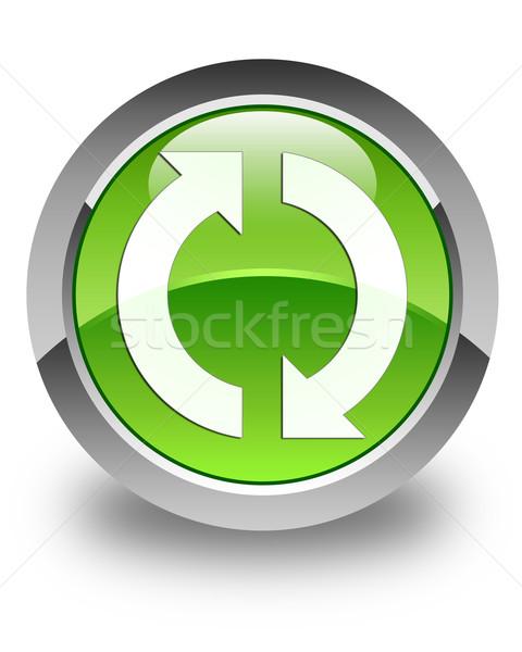 Aggiornare icona lucido verde pulsante segno Foto d'archivio © faysalfarhan