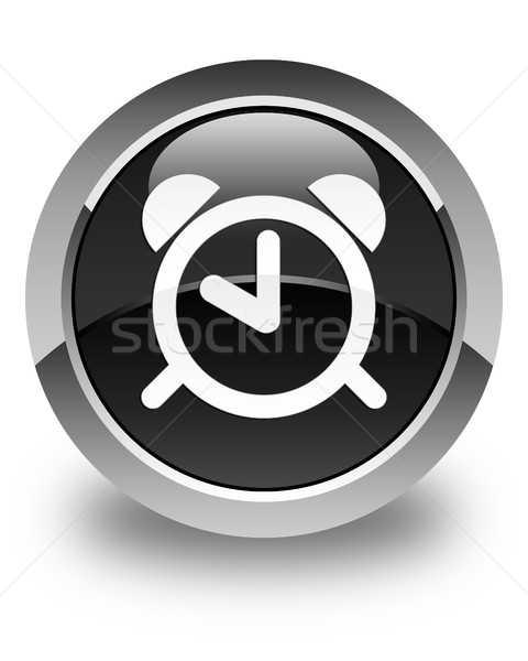 Alarm clock icon glossy black round button Stock photo © faysalfarhan