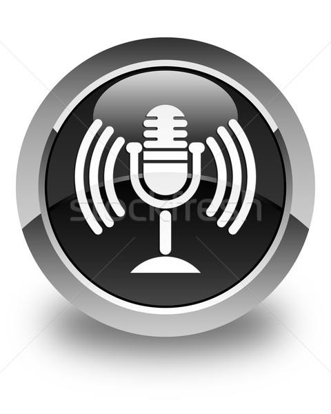 Mic icon glossy black round button Stock photo © faysalfarhan