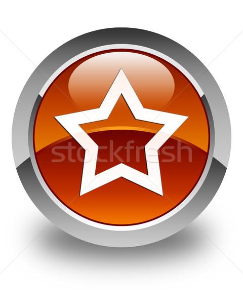 Star icon glossy brown round button Stock photo © faysalfarhan