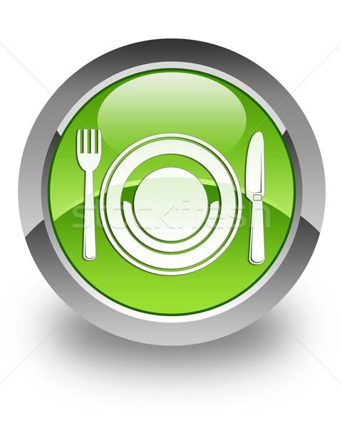 étel fényes ikon zöld asztal kulcs Stock fotó © faysalfarhan