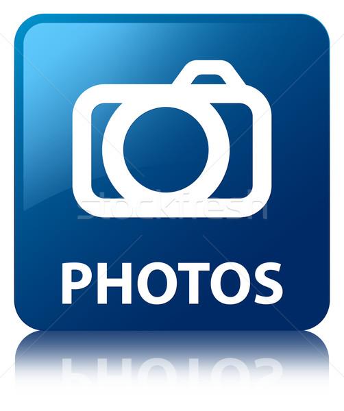 Photo stock: Photos · bleu · carré · bouton · numérique