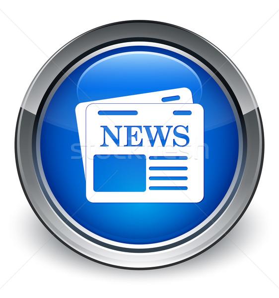 Gazete ikon parlak mavi düğme kâğıt Stok fotoğraf © faysalfarhan