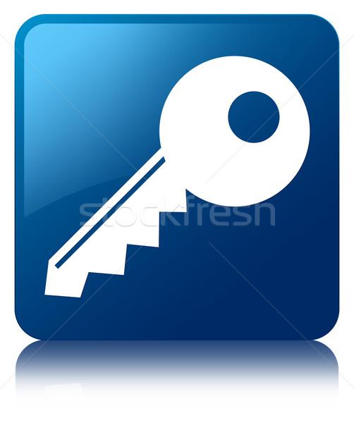 Key icon glossy blue reflected square button Stock photo © faysalfarhan