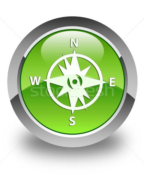 Foto stock: Brújula · icono · verde · botón · viento