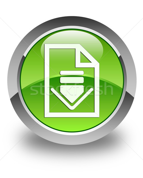 Downloaden document icon glanzend groene knop Stockfoto © faysalfarhan