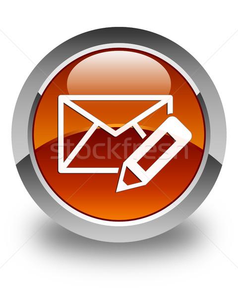 Edit email icon glossy brown round button Stock photo © faysalfarhan