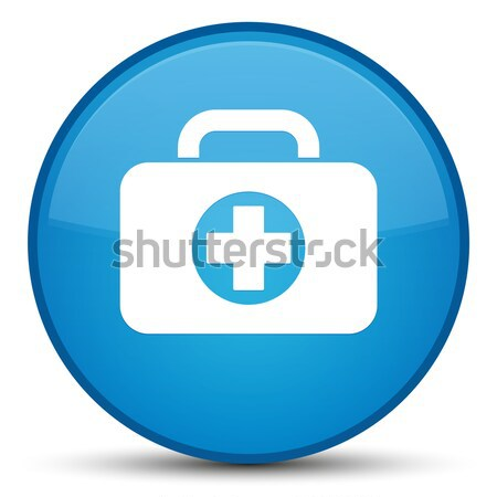 Stock photo: First aid kit bag icon glossy brown round button