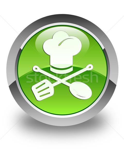 Stock photo: Chef icon glossy green round button