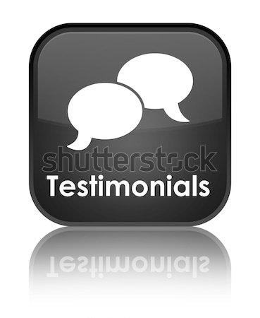 Testimonials glossy black reflected square button Stock photo © faysalfarhan