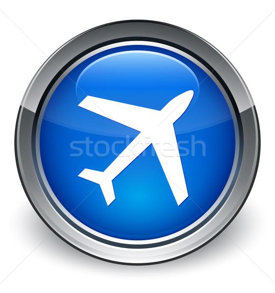 Stock photo: Plane icon glossy blue button