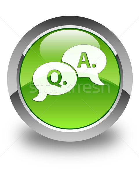 Pergunta responder bolha ícone verde Foto stock © faysalfarhan
