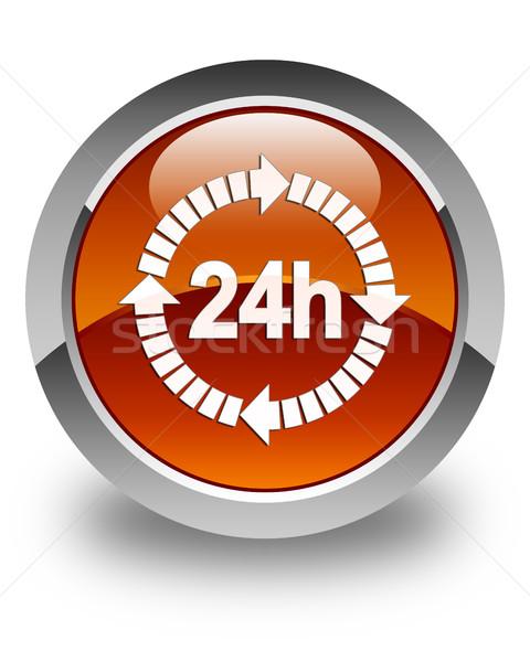 24 доставки икона коричневый кнопки Сток-фото © faysalfarhan