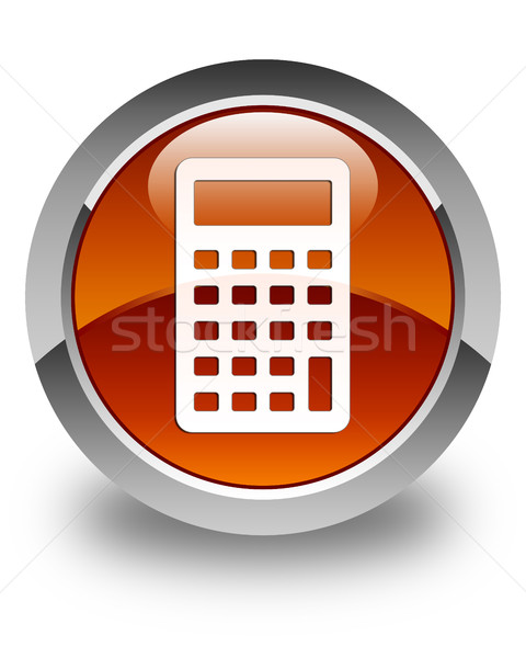 Stock photo: Calculator icon glossy brown round button