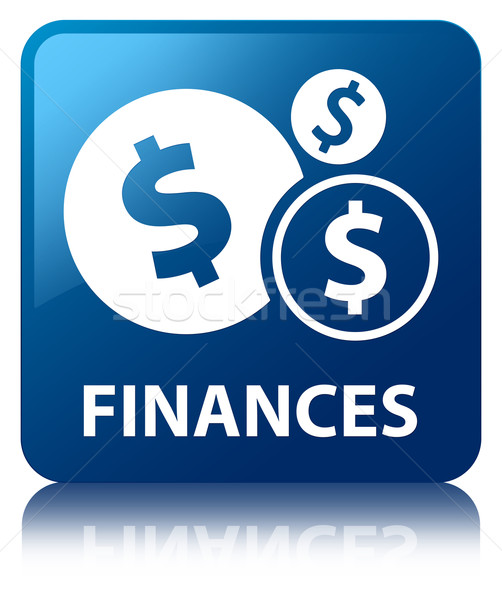 Finances (dollar icon) glossy blue reflected square button Stock photo © faysalfarhan