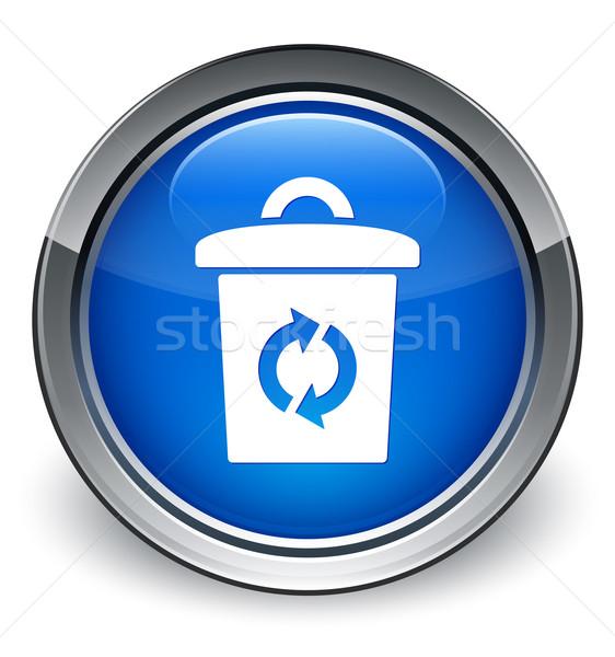 мусорное ведро Recycle икона синий кнопки Сток-фото © faysalfarhan