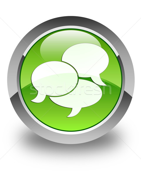 Comments icon glossy green round button Stock photo © faysalfarhan
