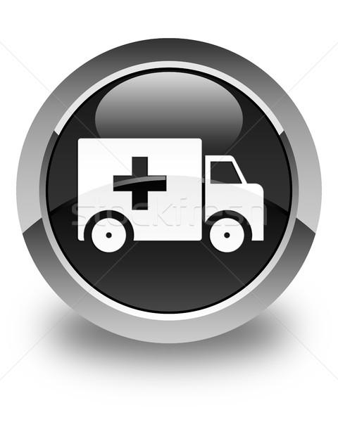 Ambulanza icona lucido nero pulsante camion Foto d'archivio © faysalfarhan