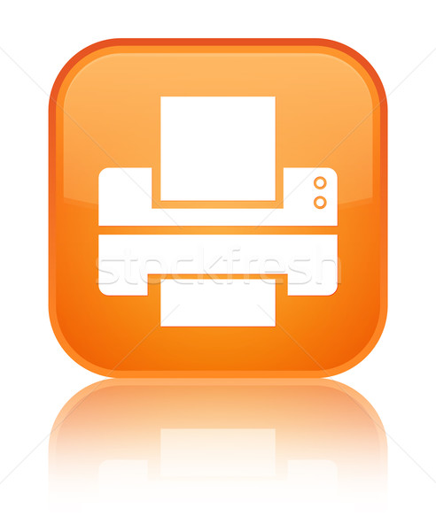 Printer icon glossy orange reflected square button Stock photo © faysalfarhan