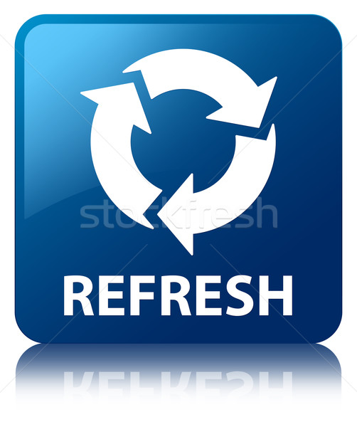 refresh update icon glossy blue reflected square button