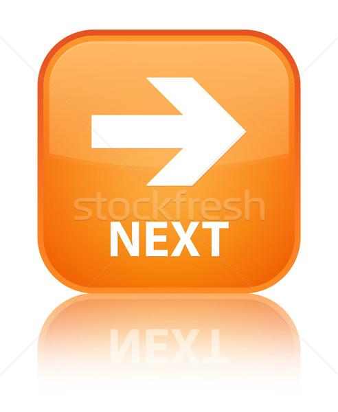 Next glossy orange reflected square button Stock photo © faysalfarhan