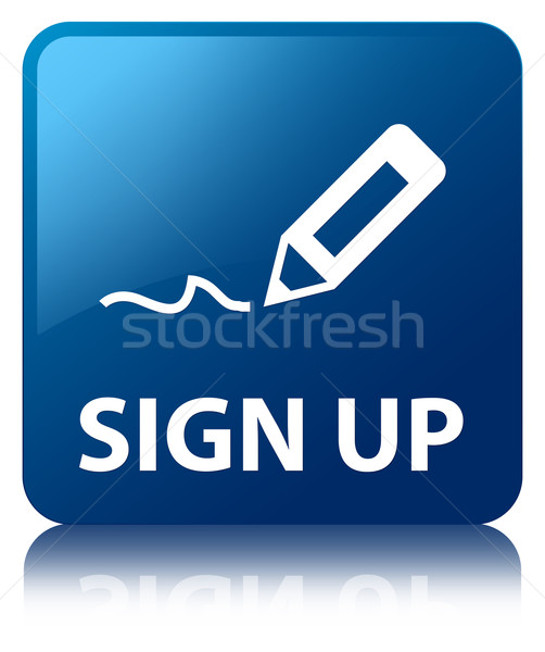 Sign up glossy blue reflected square button Stock photo © faysalfarhan