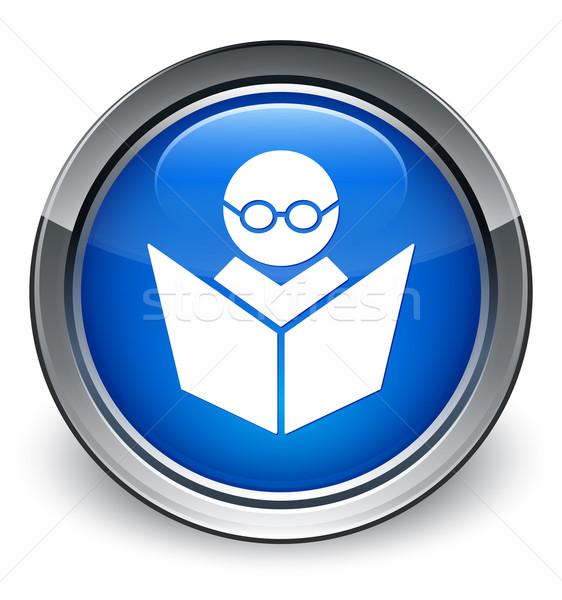 Online oktatás ikon fényes kék gomb könyv Stock fotó © faysalfarhan