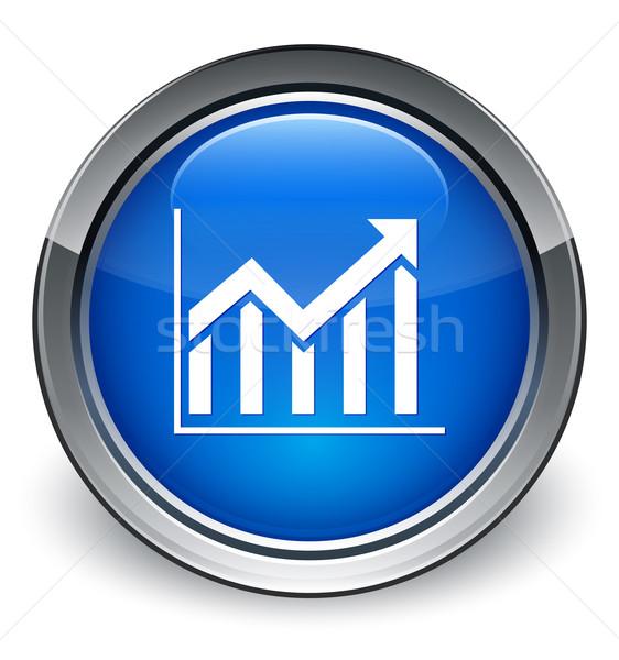 Statistiche icona lucido blu pulsante mercato Foto d'archivio © faysalfarhan