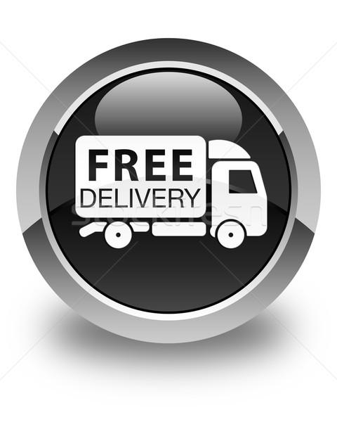 Livraison gratuite camion icône noir bouton Photo stock © faysalfarhan