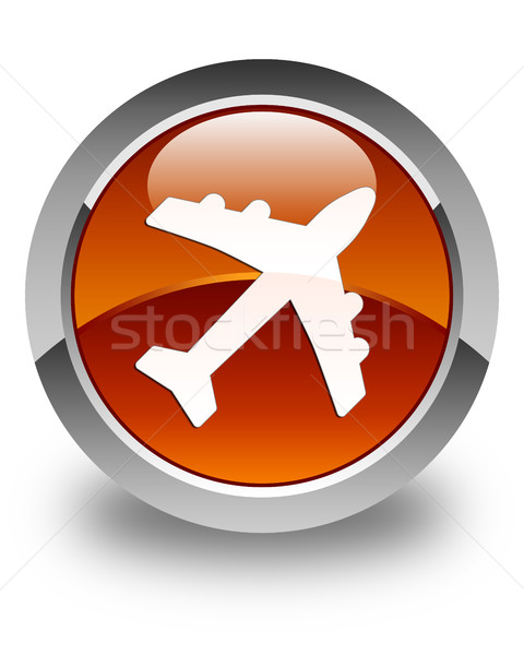 Plane icon glossy brown round button Stock photo © faysalfarhan