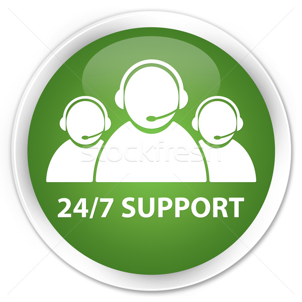 24/7 support team green button Stock photo © faysalfarhan