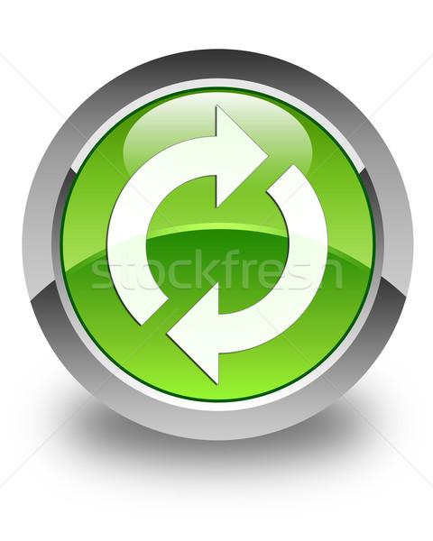 Aktualisieren Symbol glänzend grünen Taste Zeichen Stock foto © faysalfarhan