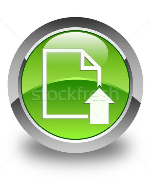 Feltöltés irat ikon fényes zöld gomb Stock fotó © faysalfarhan