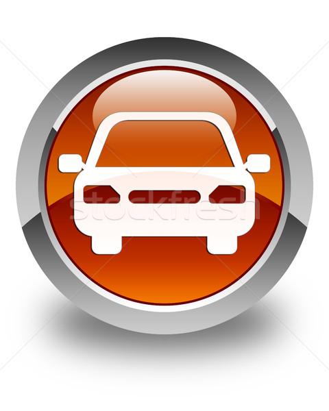 Car icon glossy brown round button Stock photo © faysalfarhan