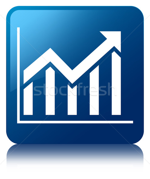 Statistics icon glossy blue reflected square button Stock photo © faysalfarhan