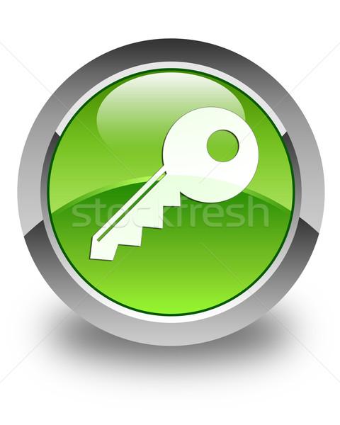 Key icon glossy green round button Stock photo © faysalfarhan
