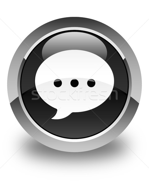 Conversación icono negro botón Internet Foto stock © faysalfarhan