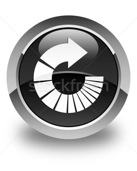 Rotate arrow icon glossy black round button Stock photo © faysalfarhan