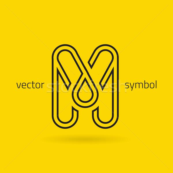 Vector graphic creative line alphabet symbol / Letter M Stock photo © feabornset