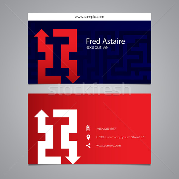 Modern vector graphic business card with alphabet symbol / lette Stock photo © feabornset