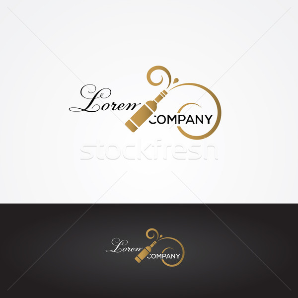 Vector graphic silver and gold winery sign with wine bottle symb Stock photo © feabornset