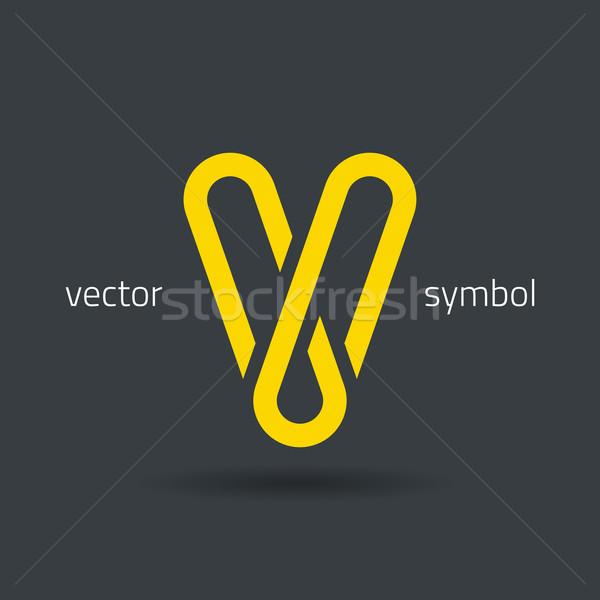 Vector graphic creative line alphabet symbol / Letter V Stock photo © feabornset