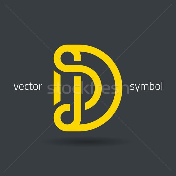 Vector graphic creative line alphabet symbol / Letter D Stock photo © feabornset